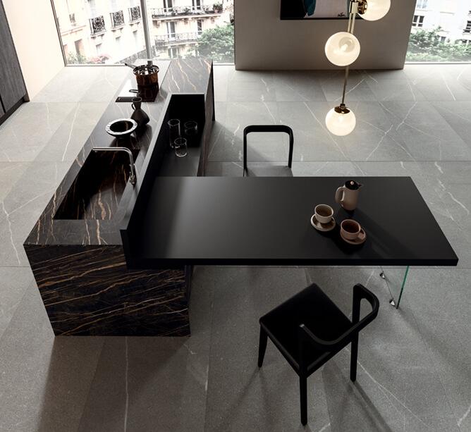 Modele bijou - ilot central noir plan de travail marbre